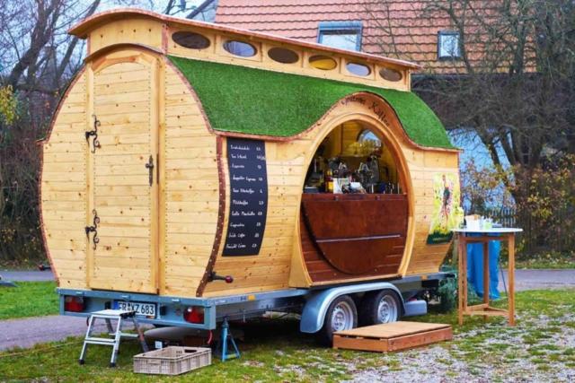 Schankwagen mit Verkaufstheke, Kaffeewagen rund, Marktwagen Hobbit